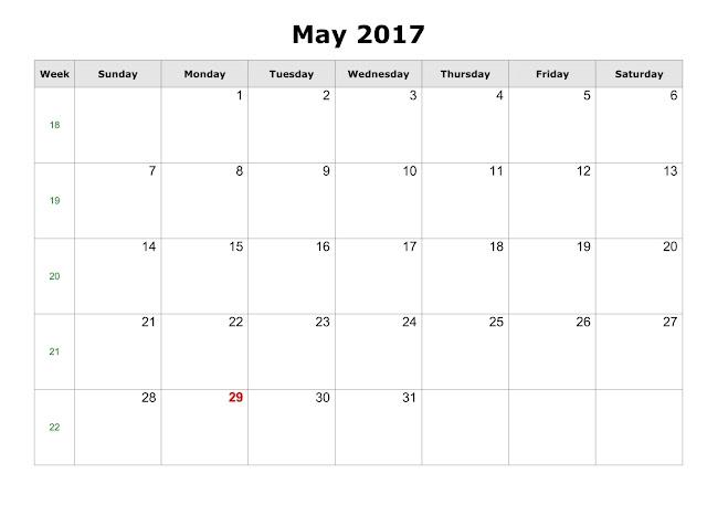 May 2017 printable Calendar, May 2017 Blank Calendar, May Calendar 2017