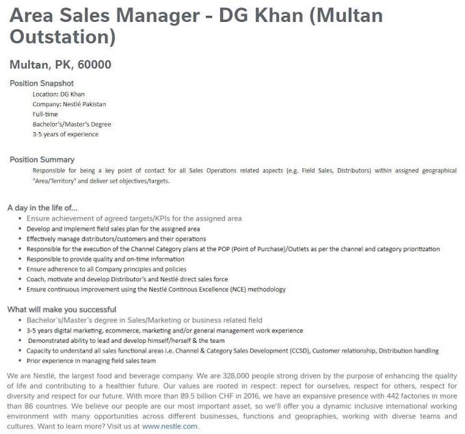 NESTLE Pakistan Latest Jobs Vacancies 2021 || daily jobs in Pakistan