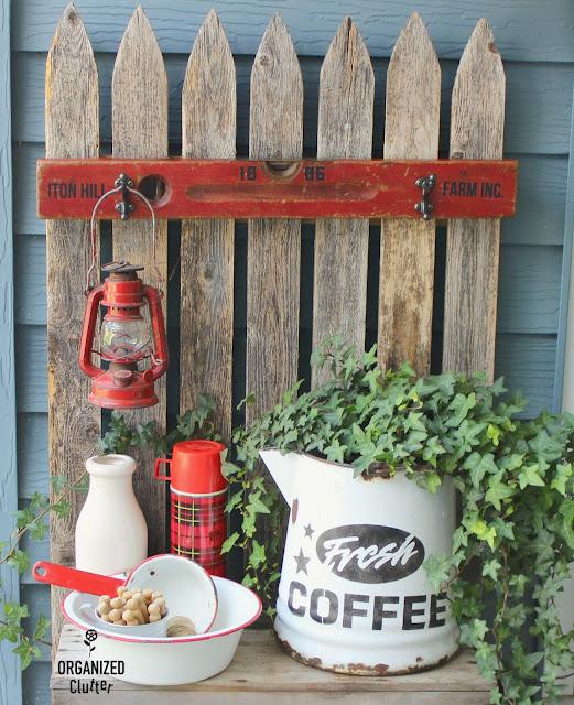 Repurposed Vintage Wooden Level with Hooks & Image Transfers #vintagelevel #vintagetools #polycrylic #BestDangWax #EverydayFarmhouse #imagetransfer #primamarketing #redesign #farmhouse #repurposing #repurpose