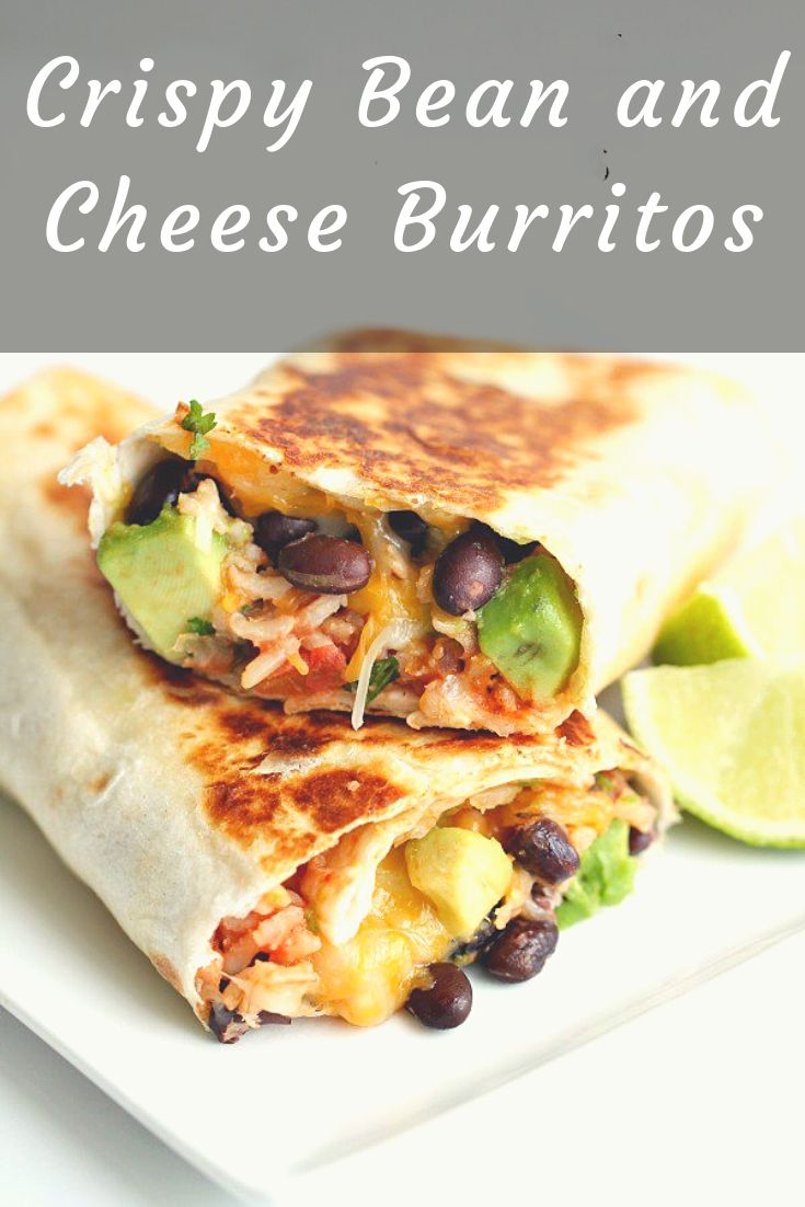 Crispy Bean and Cheese Burritos from Six Sisters Stuff | Stuffed with beans, cheese, cilantro, avocado and lime, this quick & easy dinner recipe is a winner!