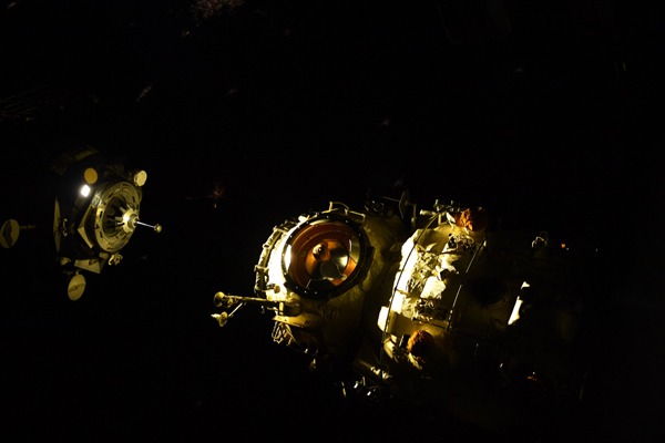 Orbiting above the night side of the Earth, the Soyuz MS-18 vehicle is about to dock with the Nauka module at the ISS...on September 28, 2021.