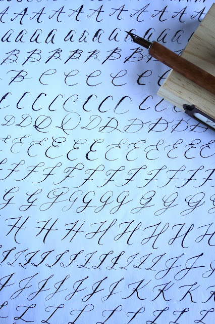 calligraphy, hand lettering, blah to TADA, calligraphy book, Karla Lim, crafts using calligraphy, calligraphy practice sheets, calligraphy uppercase letters