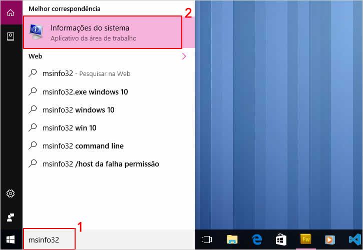 Acessando Msinfo32 para saber se o Windows 10 é de 32 ou 64 bits