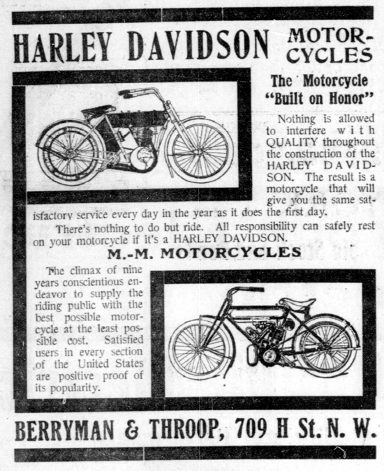 Harley-Davidson advertising May 30, 1909