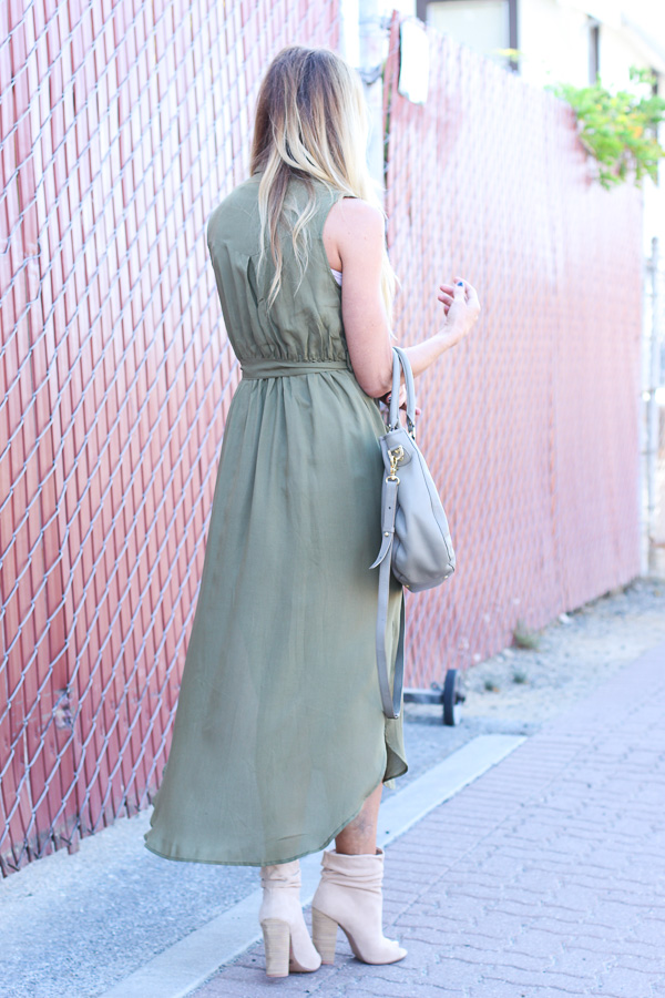 military green flow dress