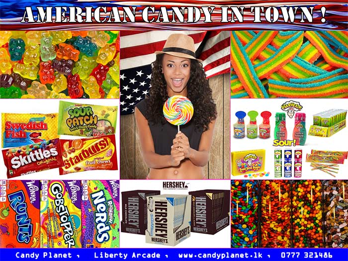 """Our aim is to cater Sri Lankan candy lovers with world's most popular high quality candy. We are specialized in American Candy. We offer a wide range of candy and no doubt that you will find your favourite candy right here. A huge selection of Gummies from Sweet to Sour, Chocolates, Rock Candy, Popping Candy, Gum Balls/Bubblegums, Jelly Beans, Jawbreakers, Taffy, Powder Candy, Lollipops, Hard Candy, Licorice, Sour Candy, Sweet Tarts, Liquid and Spray Candy to choose from.  Visit us to be amazed by the variety of world's best and most popular candy on offer.  Come visit us and fall in """"Love at first bite""""..."""