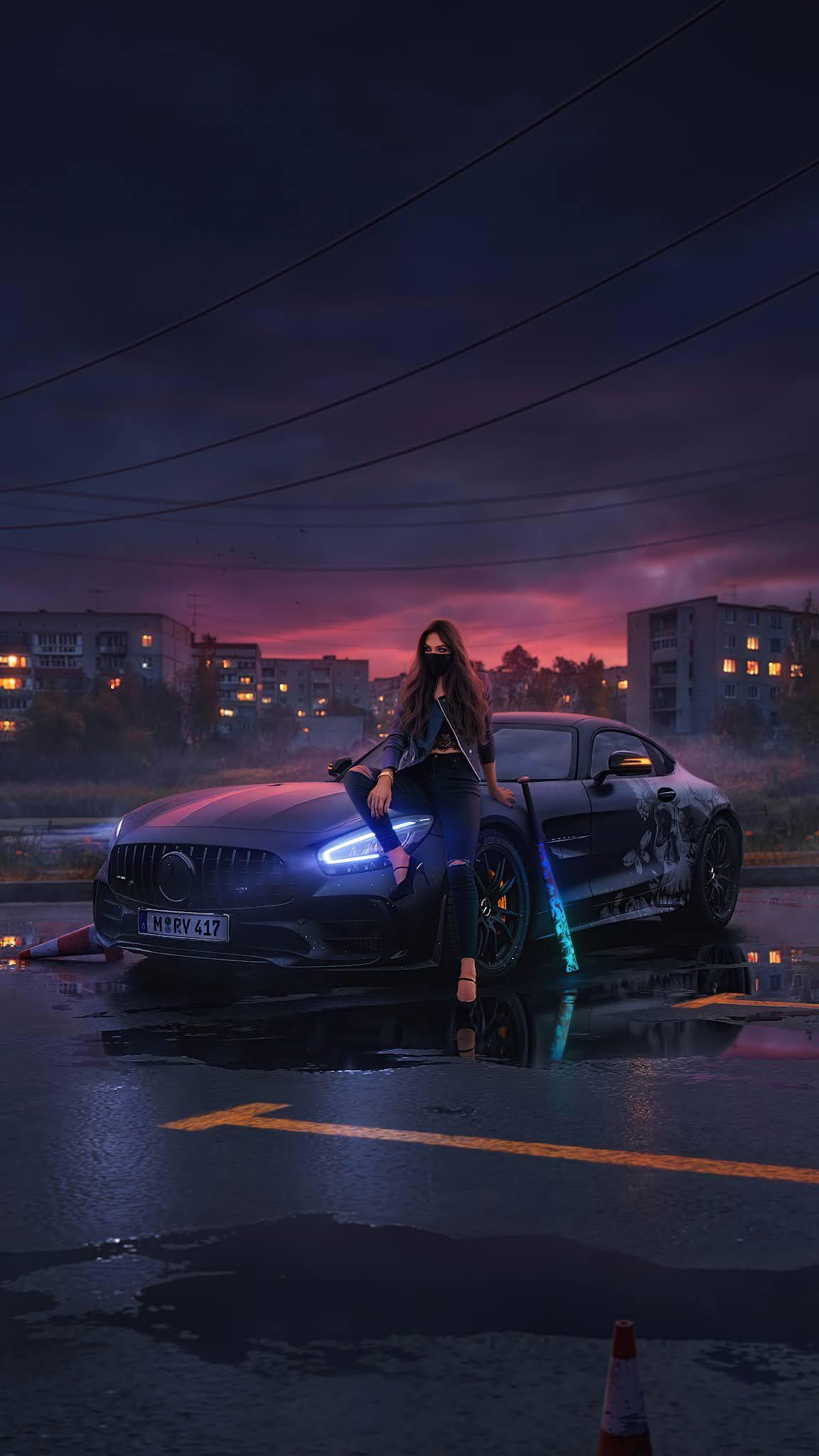 Urban Girl Sitting On Mercedes Bonnet mobile wallpaper