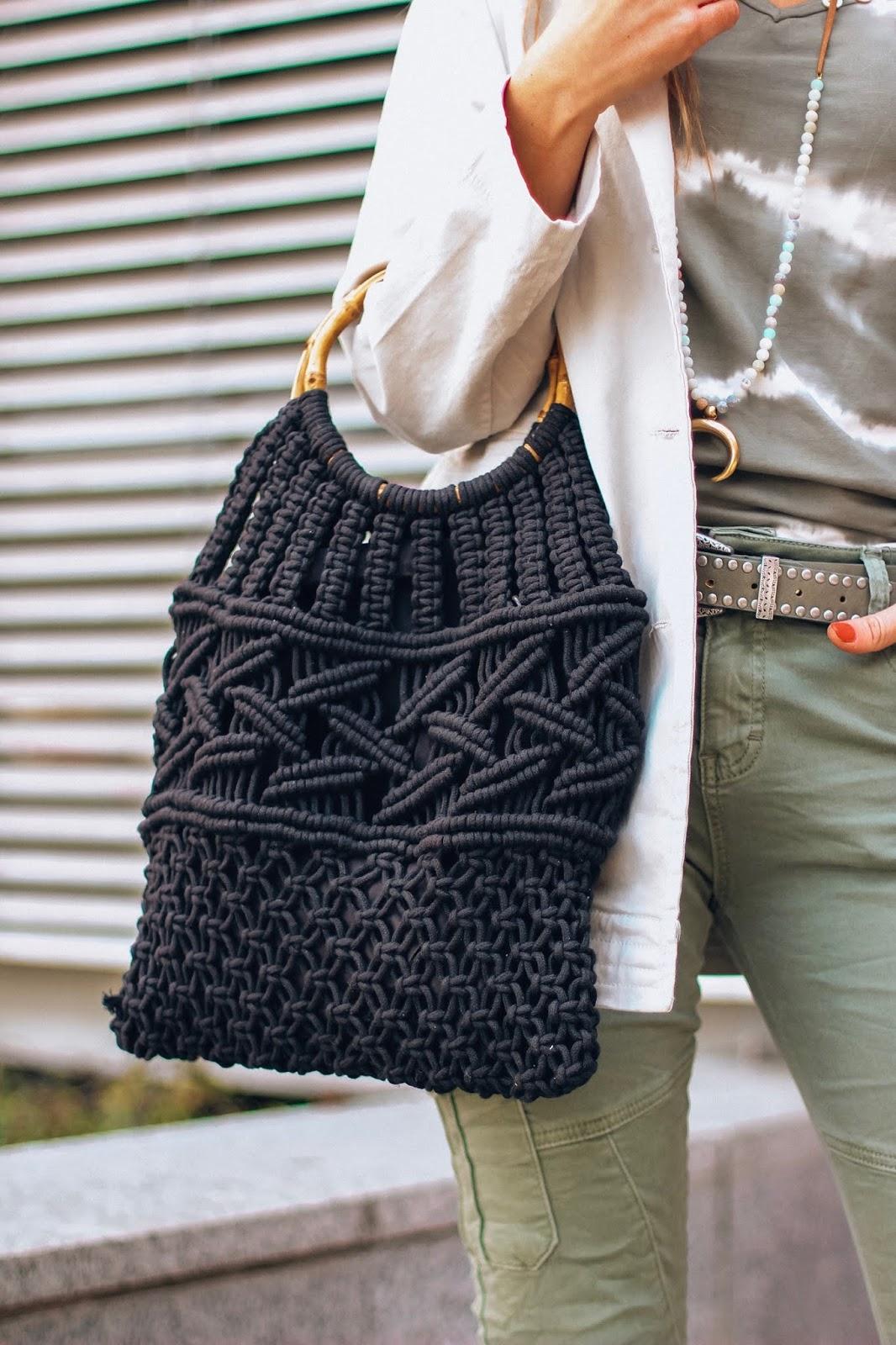 bolso crochet negro