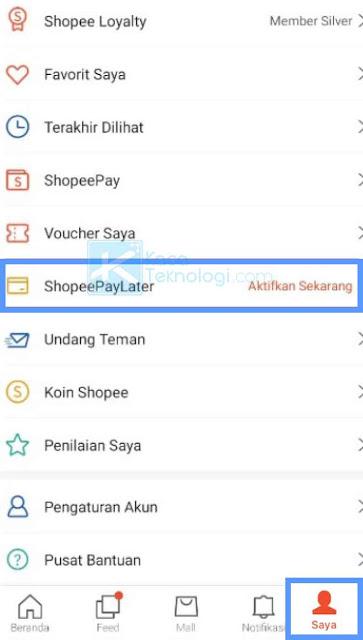Setelah aplikasi Shopee berhasil Anda buka, selanjutnya Anda perlu masuk ke menu Saya lalu pilih menu ShopeePayLater yang terdapat diantara menu lainnya.