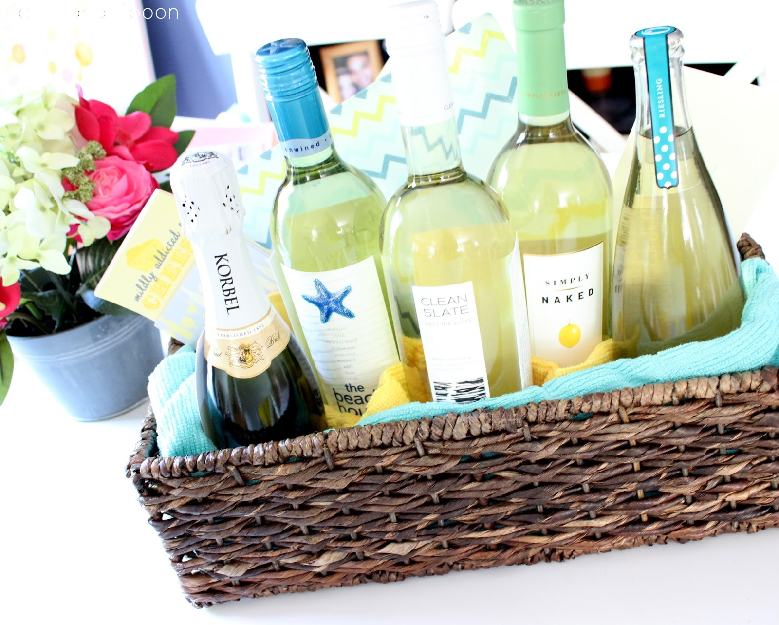 """Wedding Wine Gift Basket: Spool And Spoon: """"All Of Your Firsts"""" Wine Gift Basket"""