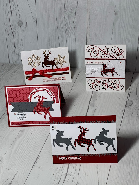 Four Christmas Card samples all using the Stampin' Up! Peaceful Deer Stamp Set and coordinating Deer Builder Punch