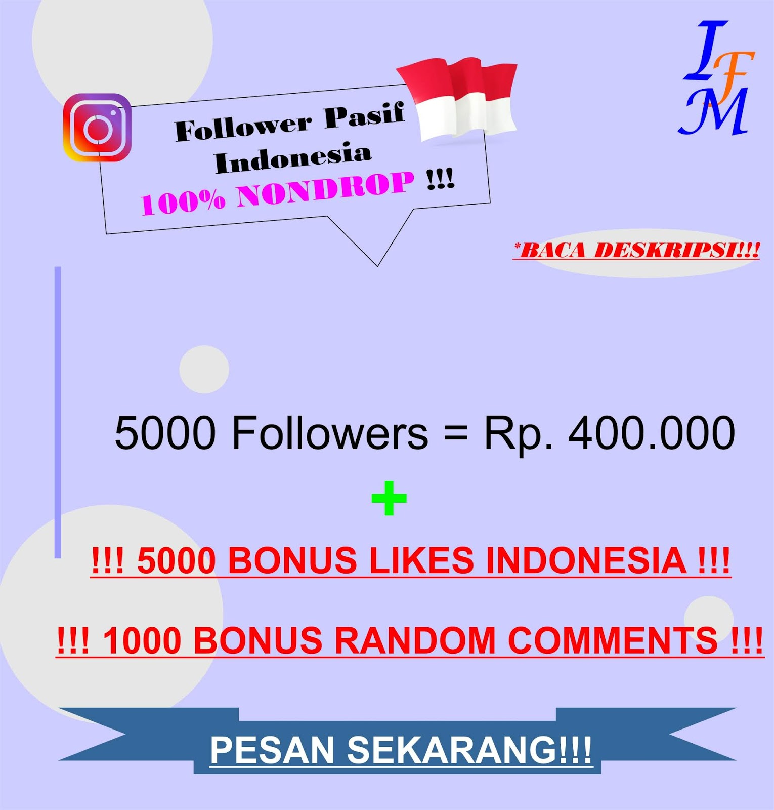 Jasa Tambah 5000 Follower Akun Instagram Pasif Original Indonesia 100% NONDROP Murah