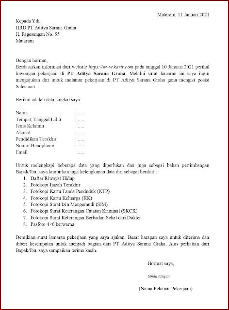 Contoh Application Letter Untuk Salesman (Fresh Graduate) Berdasarkan Informasi Dari Website