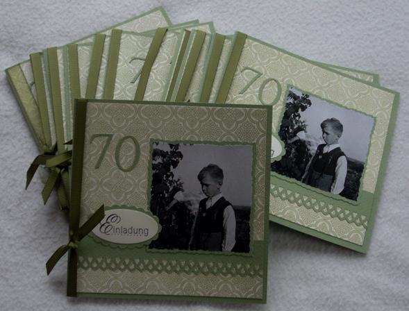 Mein Vater Wird 70. Diese Einladungskarten Wurden Verschickt...... Ich Habe  Wieder Den Schönen Medallion Stempel Als Hintergrund Verwendet, ...