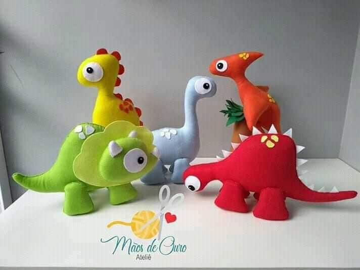 Dinossauros De Feltro Com Molde Para Imprimir Artesanato Com