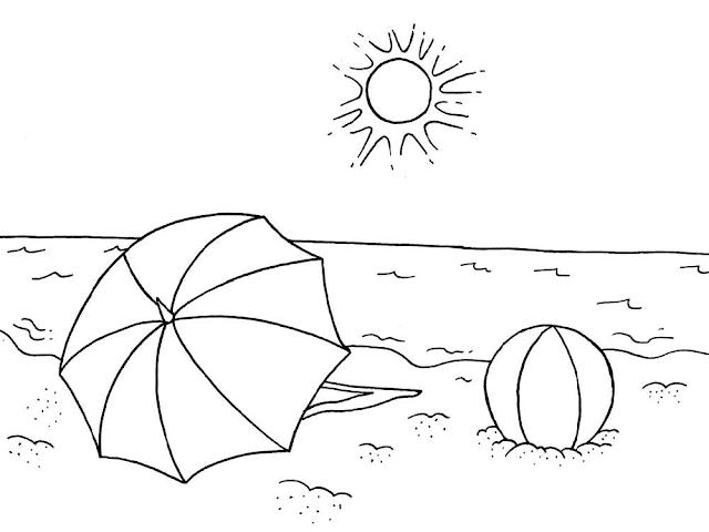 Gambar Mewarnai Pemandangan Pantai - 7