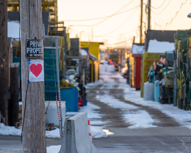 Portland, Maine February 2021 Photo of Valentines Heart at Widgery Wharf.