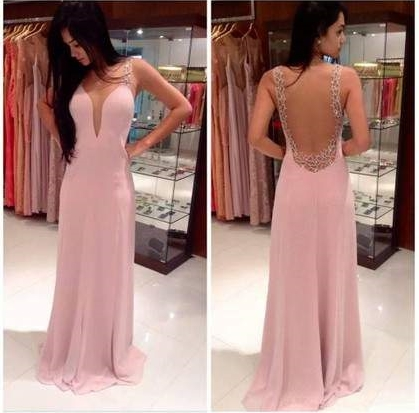 A-line V-neck Tulle Silk-like Satin Sweep Train Beading Prom Dresses