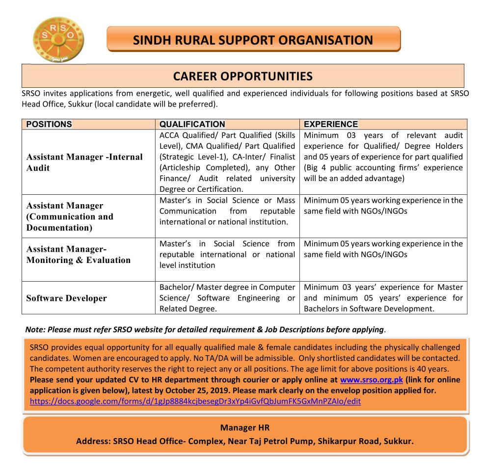 Sindh Rural Support Organization (SRSO) Sukkur Jobs 2019