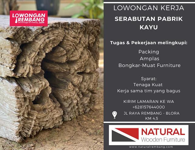 Lowongan Kerja Serabutan Pabrik Kayu Natural Wooden Furniture Rembang
