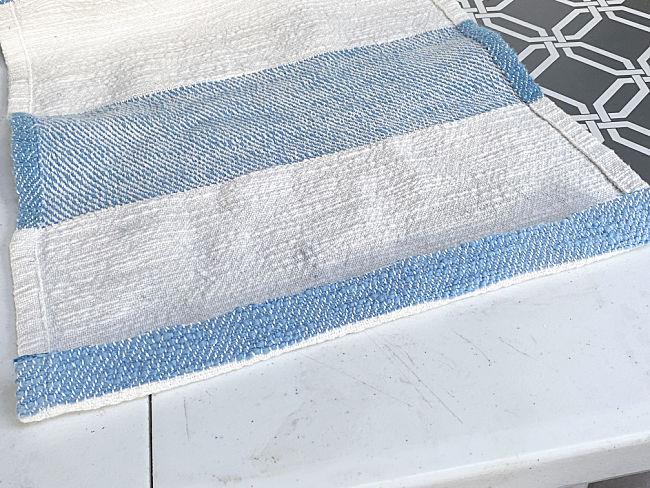 folded and glued edge of fabric