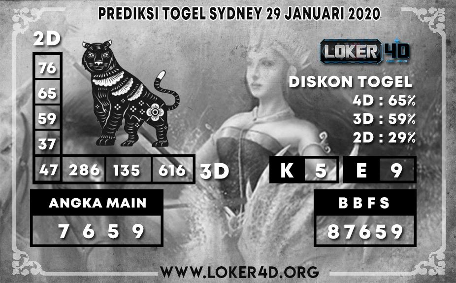 PREDIKSI TOGEL SYDNEY LOKER4D 29 JANUARI 2020