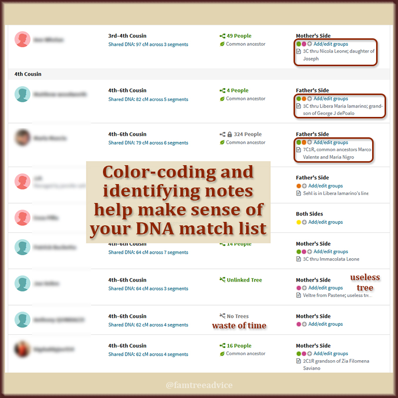 Mark up your DNA match list with colors and notes for greater efficiency.