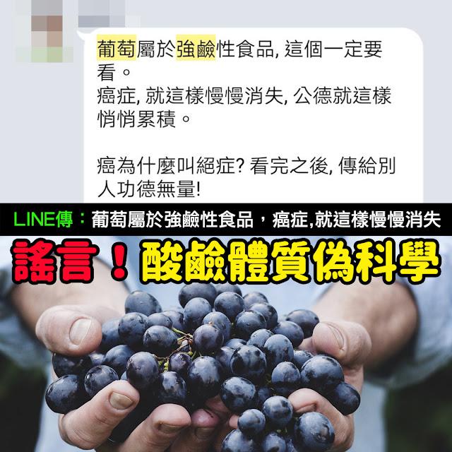葡萄屬於強鹼性食品 謠言 馬偕醫院 呂革令 癌症