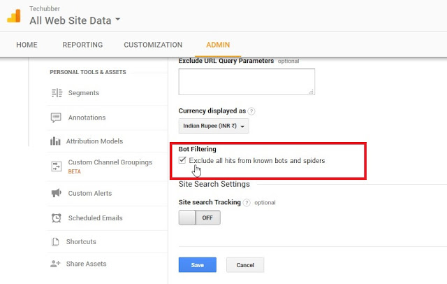 google analytics bot filtering Exclude all hits from known bots and spiders