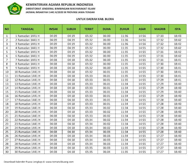 jadwal imsak waktu buka puasa kabupaten Blora 2020 m ramadhan 1441 h tomatalikuang.com