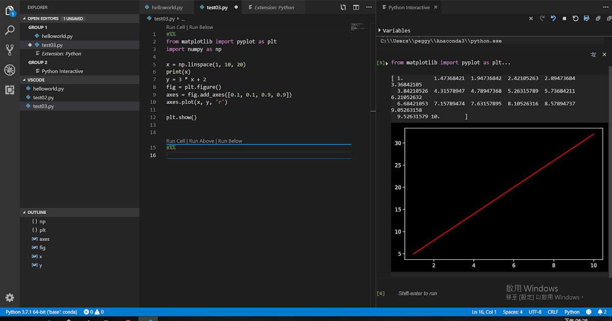 使用VS code開發Python程式 - Matplotlib繪圖