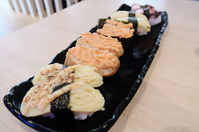 Tamago Mentai Sushi, Tamago Sushi, Lobster Salad Sushi, Inari Lobster Sushi, Tako Sushi