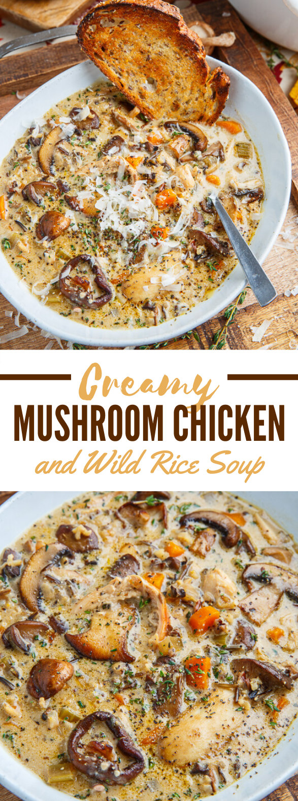 Creamy Mushroom Chicken and Wild Rice Soup #dinner #lunch