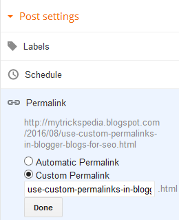 How to Use SEO Friendly Custom Permalinks in Blogger Blogs-setting custom permalinks