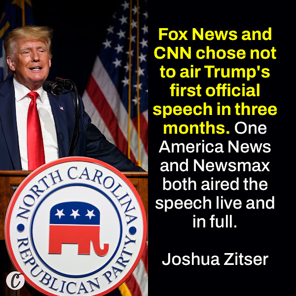 Fox News and CNN chose not to air Trump's first official speech in three months. One America News and Newsmax both aired the speech live and in full. — Joshua Zitser, Business Insider Weekend News Reporter