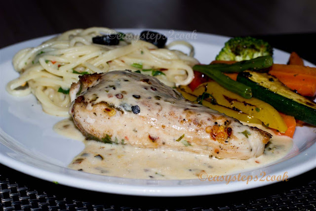 grilled chicken made in pan with vegetables and spaghetti