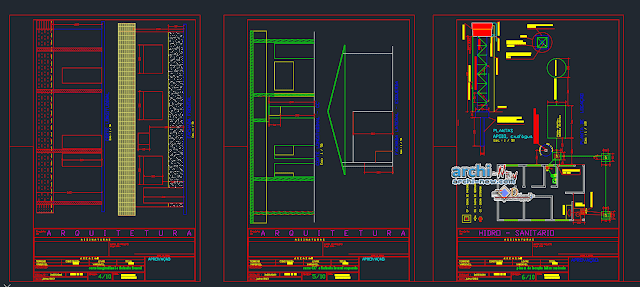 Housing development level 1-gabled in AutoCAD