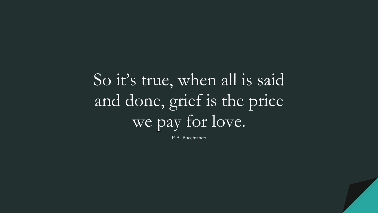 So it's true, when all is said and done, grief is the price we pay for love. (E.A. Bucchianeri);  #SadLoveQuotes