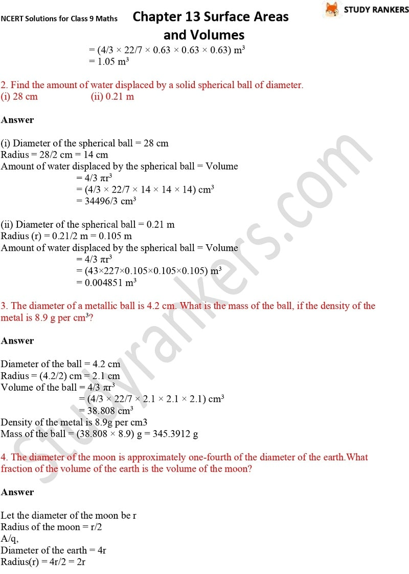 NCERT Solutions for Class 9 Maths Chapter 13 Surface Areas and Volumes Part 22