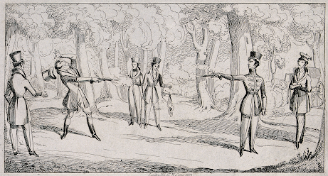 Two gentlemen duelling with pistols W Sams (1823) Wellcome Collection