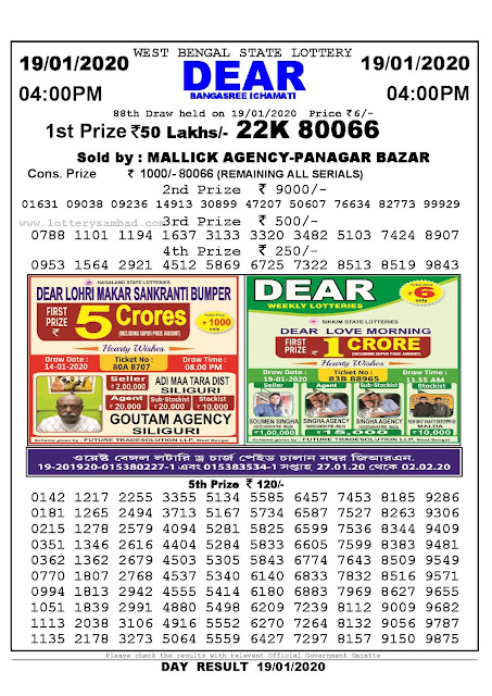 Lottery Sambad 19.01.2020 West Bengal Lottery Result 4 PM