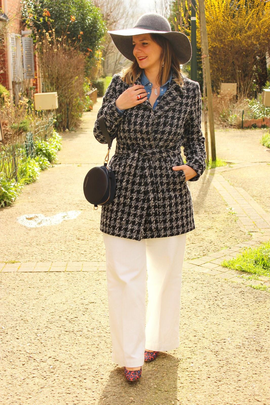 look rétro, pantalon velour blanc, les petites bulles de ma vie