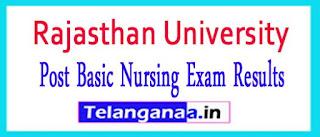 Rajasthan University Post Basic Nursing Exam Results 2017