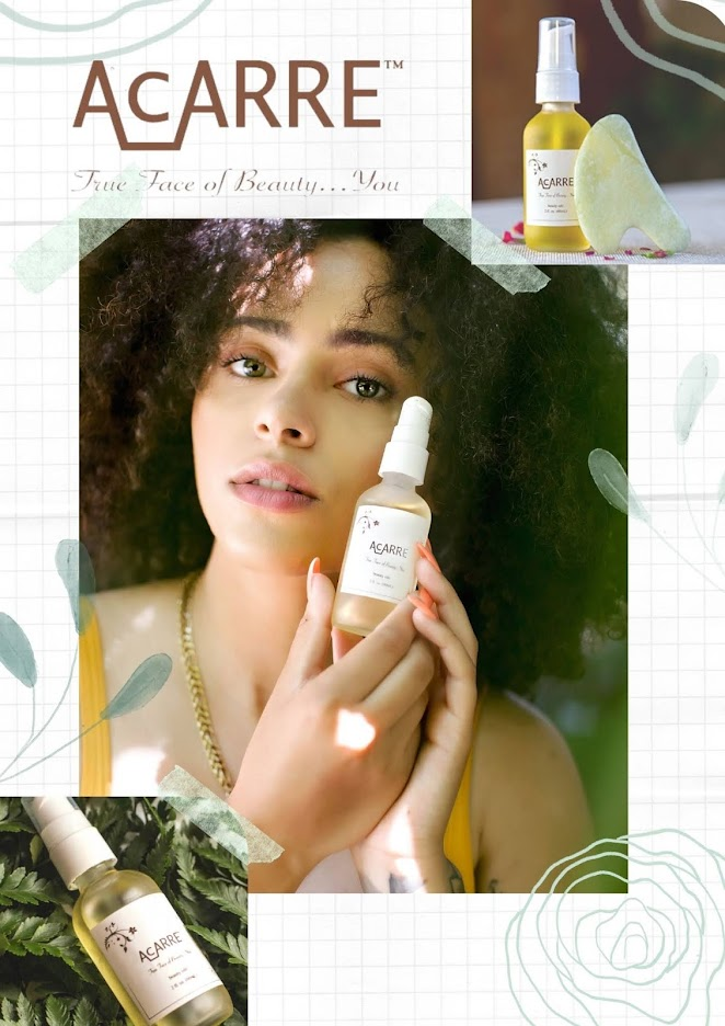 Curly Hair, woman with dry oil for skin , face care, skincare product by clean brand Acarre, The face of beauty by Acarre, Promo cruelty-free skincare, dry oil for face, minimalist skincare routine,