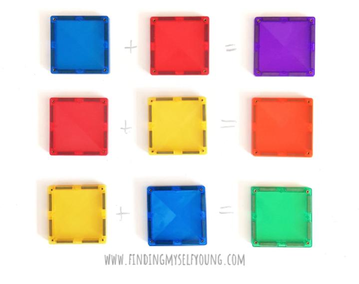 Square magnetic tile colour equations