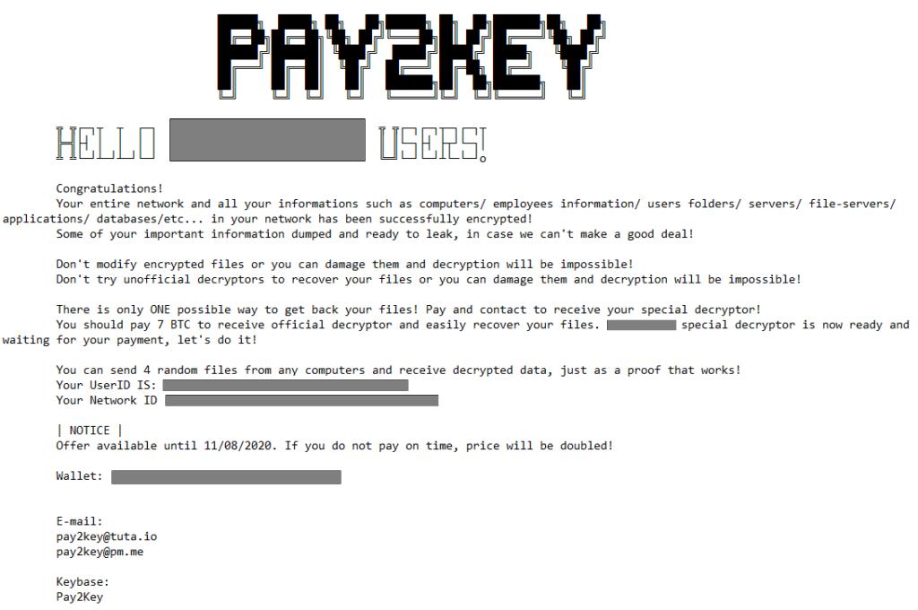 Pay2Key Ransom Note