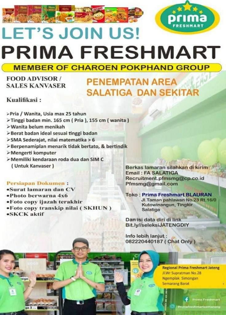 Buka lowongan Salatiga untuk posisi Food Advisor / Pramuniaga