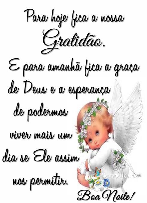 E para hoje fica a nossa gratidão.  E para amanhã fica a graça  de Deus e a esperança de podermos viver mais um dia  se Ele assim nos permitir.  Boa Noite!