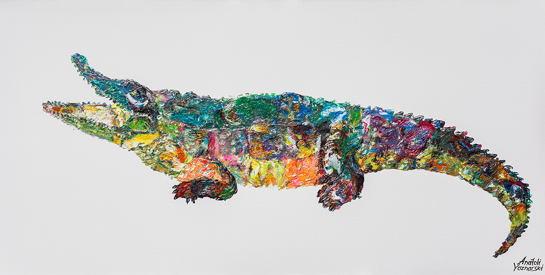 crocodile  acrylic painting, heavy textured crocodile painting, mixed crocodile art, unique crocodile painting on canvas, anatoli crocodile, anatoli voznarski crocodile, jellyfish wall painting, signature crocodile painting, animal painting