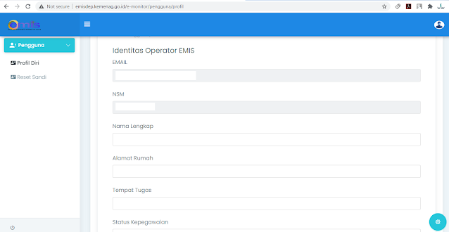Cara Mengubah Nama Operator EMIS Lama menjadi Baru